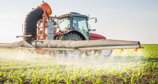 농가에서 작물에 살충제를 뿌리고 있다 - GIB 제공